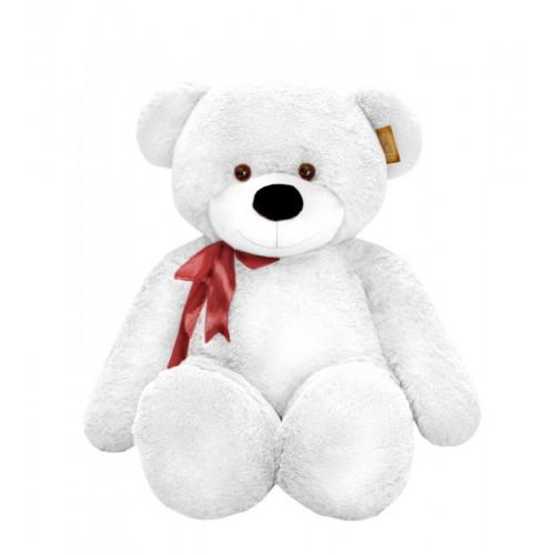 Белый мягкий медведь с бантом (120 см)