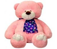 Розовый медведь с шарфом (110 см)