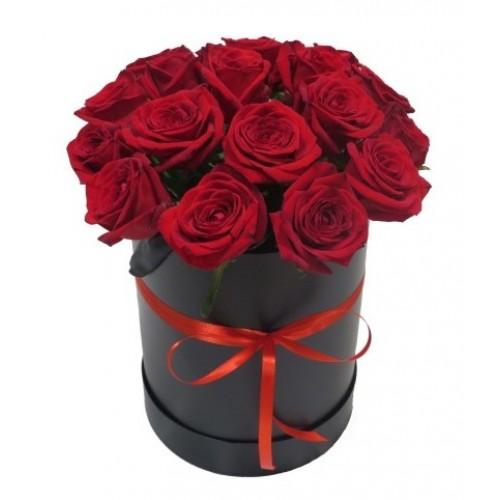 Красные голландские розы в круглой коробке (15 - 51 шт.)