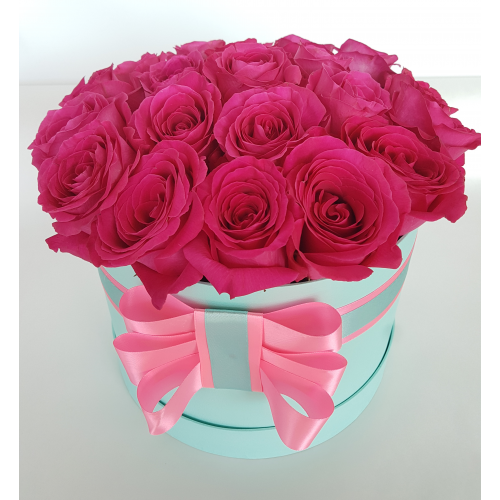 Малиновые голландские розы в круглой коробке (11-101)