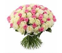 101 белая и розовая роз