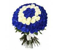 101 синяя и белая роза 7- см (от 11 до 101)