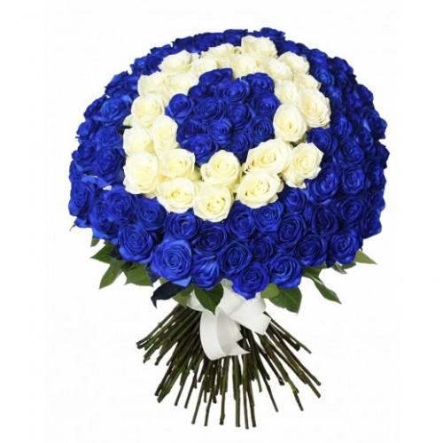 101 синяя и белая роза
