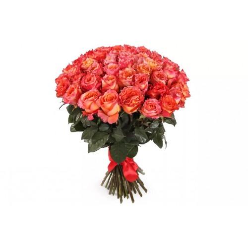 51 пионовидная оранжевая роза
