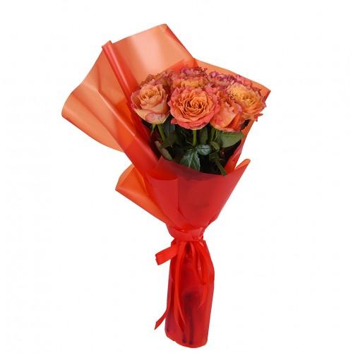 Букет из коралловых пионовидных роз  (7 - 45)