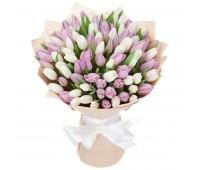 101 белый и розовый тюльпан (от 11 до 101 шт)