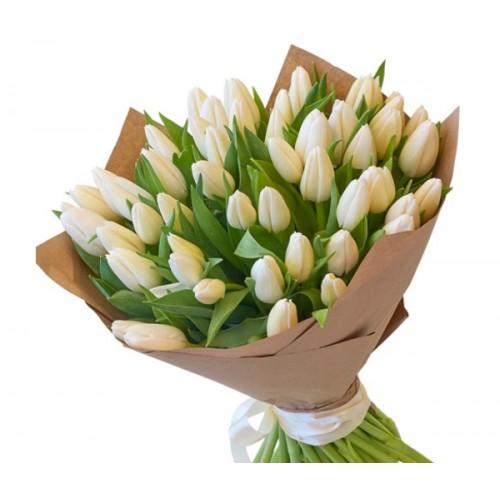 Букет из белых тюльпанов  (15, 25, 35, 51, 101)